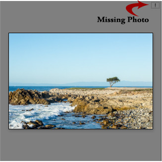 Find your missing photos and relink them. If your image has an exclamation mark in the corner, chances are you moved it outside of Lightroom