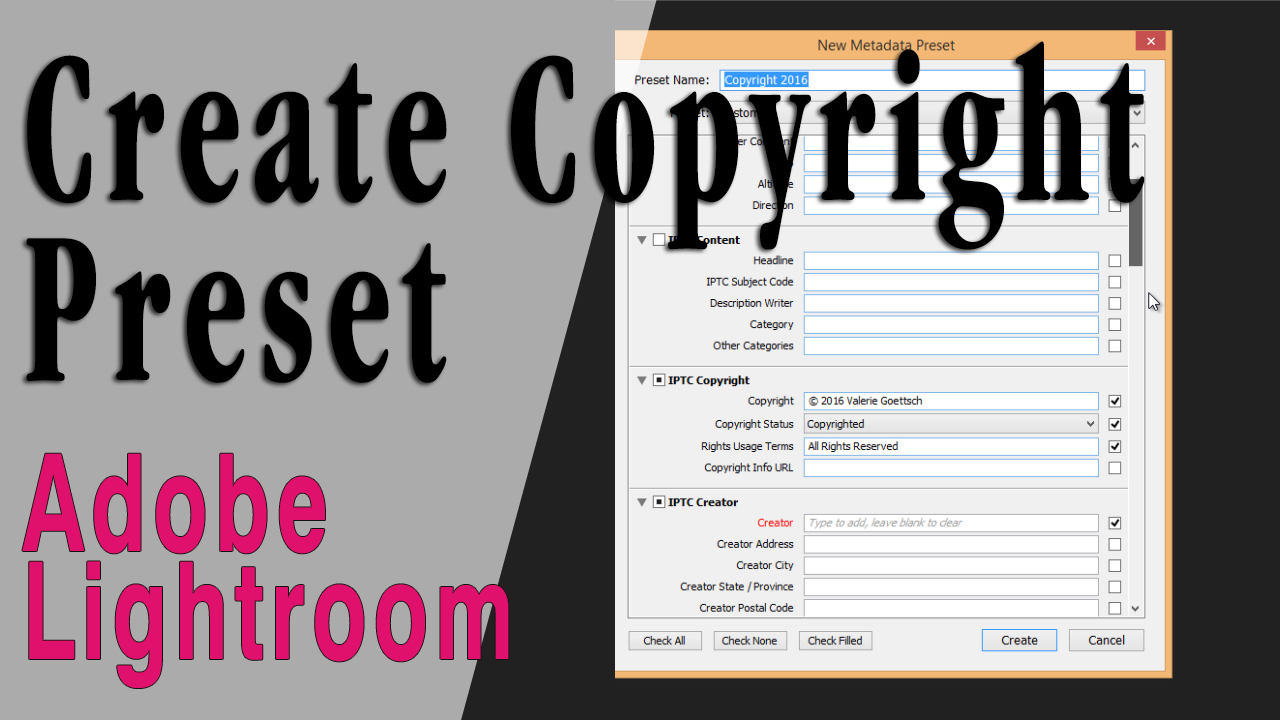 Creating a Copyright Preset