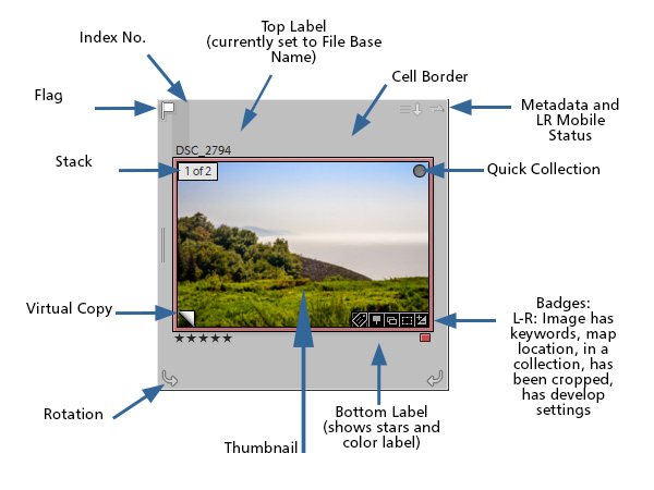Lightroom LIbrary Module Grid View - what all those icons and badges mean